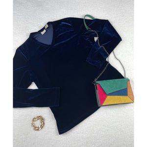 MERONA • Royal Blue Velvet Long Sleeve Top